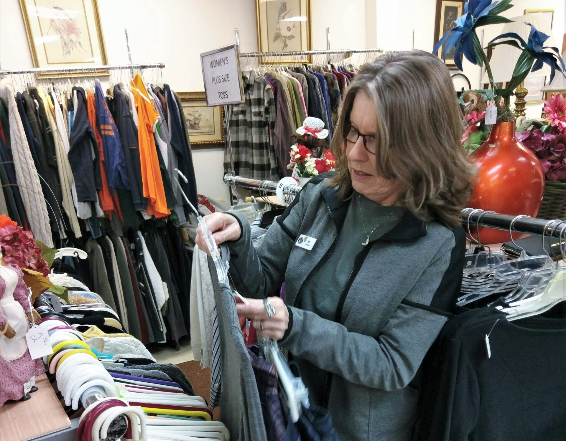<b>Thrift Store</b><br> There are several ways that you can help in our thrift store. Thriftstore volunteers act as cashiers, pricers, stockers and are responsible for sortingclothing and household items.[btn_button button_type=