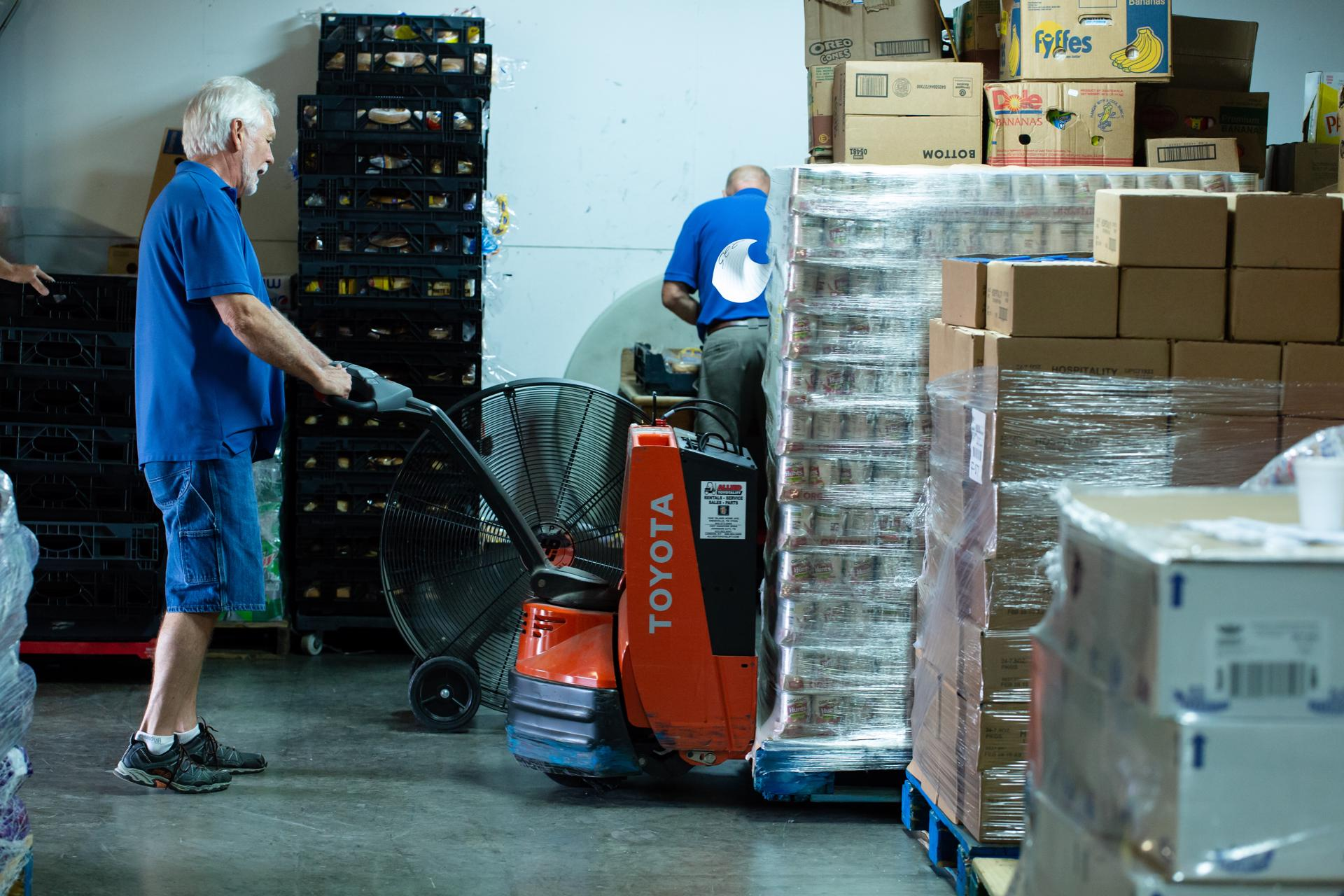 <b>Warehouse</b><br> The warehouse is responsible for the receiving of food, bulk food item separation/ packing, and food pickup. We receive items daily by pallet and boxes. If you've used hand trucks and pallet jacks before, we have a spot for you on our team.